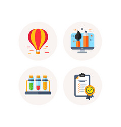 Creative designer chemistry and air balloon icons vector