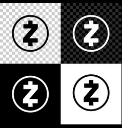 cryptocurrency coin zcash zec icon on black white vector image
