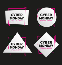 Cyber monday banners set sale concept vector