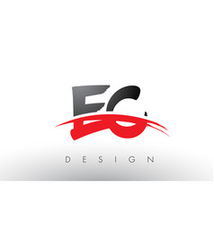 Ec e c brush logo letters with red and black vector