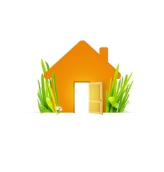 Eco home with open door vector image