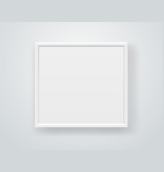 Empty square white frame on a wall template vector