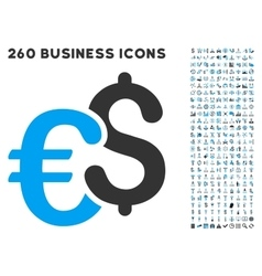 euro and dollar currency icon with flat set vector image