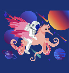 fantasy astronaut riding a seahorse with octopus vector image