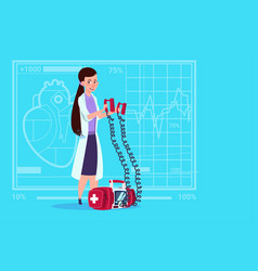 female doctor hold defibrillator medical clinics vector image