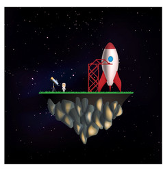flying isle with rocket and astronaut vector image