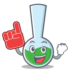 Foam finger tube laboratory character cartoon vector