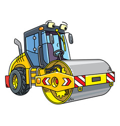 Funny asphalt compactor car with eye vector