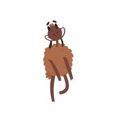Funny happy brown sheep character dancing cartoon vector