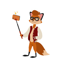 funny picture fox photographer mamal person take vector image