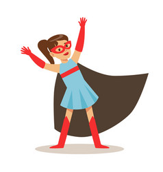 girl in blue dress pretending to have super powers vector image