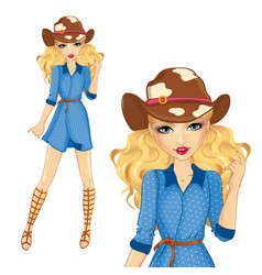 Girl in cowboy hat and sandals vector