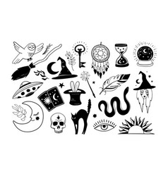 halloween icons set hand drawn elements for witch vector image