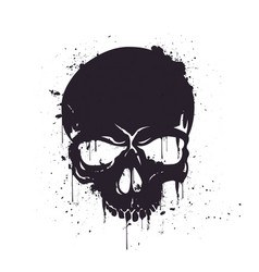 Hand drawn black skull with splash effects vector