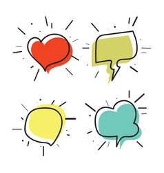 Hand drawn thought and speech bubbles03 vector