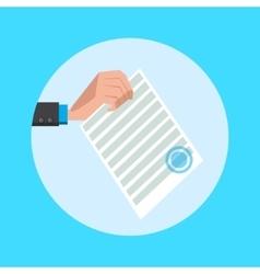 Hand hold document cartoon vector