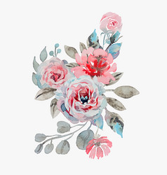 Handmade watercolor bouquet of flowers vector