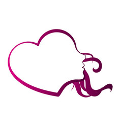 Heart shaped girl avatar vector