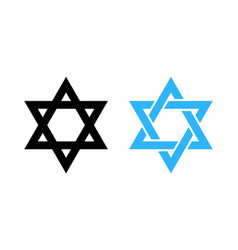 hexagram david star - black and blue icon of vector image