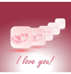 I Love You stylish design hearts with vector