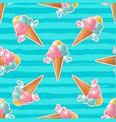Ice cream pattern turquoise background 80s pop vector
