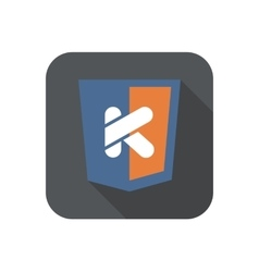 Icon web shield with K letter - isolated vector