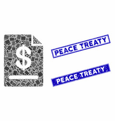 Invoice mosaic and distress rectangle peace treaty vector