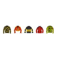 jacket icon set flat style vector image