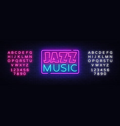 jazz music neon sign jazz music design vector image