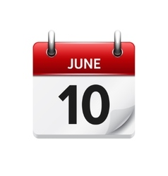 June 10 flat daily calendar icon date vector