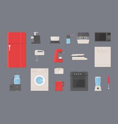 Kitchen appliances set fridge washing machine vector