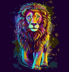lion artistic neon color abstract portrait vector image