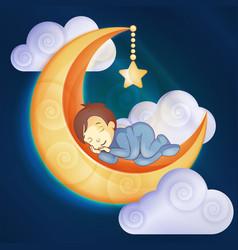 Little boy sleeping on moon vector