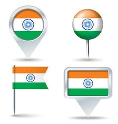 Map pins with flag of India vector image