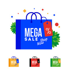 mega sale word on shopping bag vector image