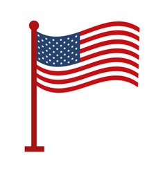 memorial day waving flag in pole american vector image