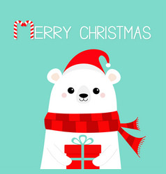 merry christmas polar white bear cub face holding vector image