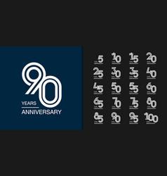 Modern geometric anniversary celebration icons vector