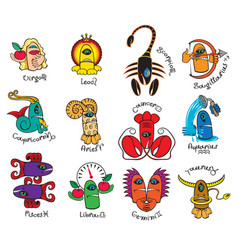 Monsters signs of the zodiac icons for horoscopes vector