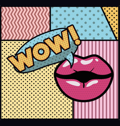 Mouth saying wow pop art style vector