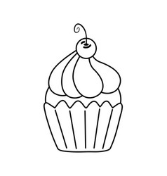 Muffin with cherry black and white vector