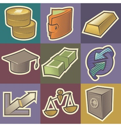 Multicolored finance icons vector