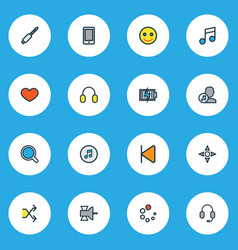 Music icons colored line set with search vector