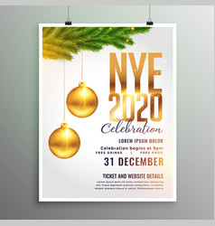new year 2020 flyer in white theme style vector image
