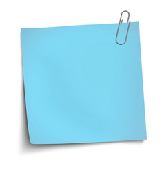 Paper mockup blue note attached vector