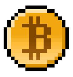 Pixel bitcoin gaming coin vector