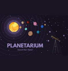 Planetarium flat banner template vector