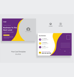 Postcard template with creative layout vector