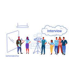 professional camera recording female presenter vector image
