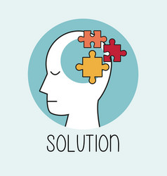 profile human head solution brain vector image